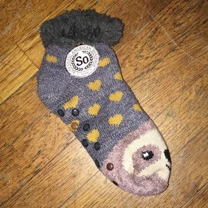 Fuzzy Sloth Slipper Socks